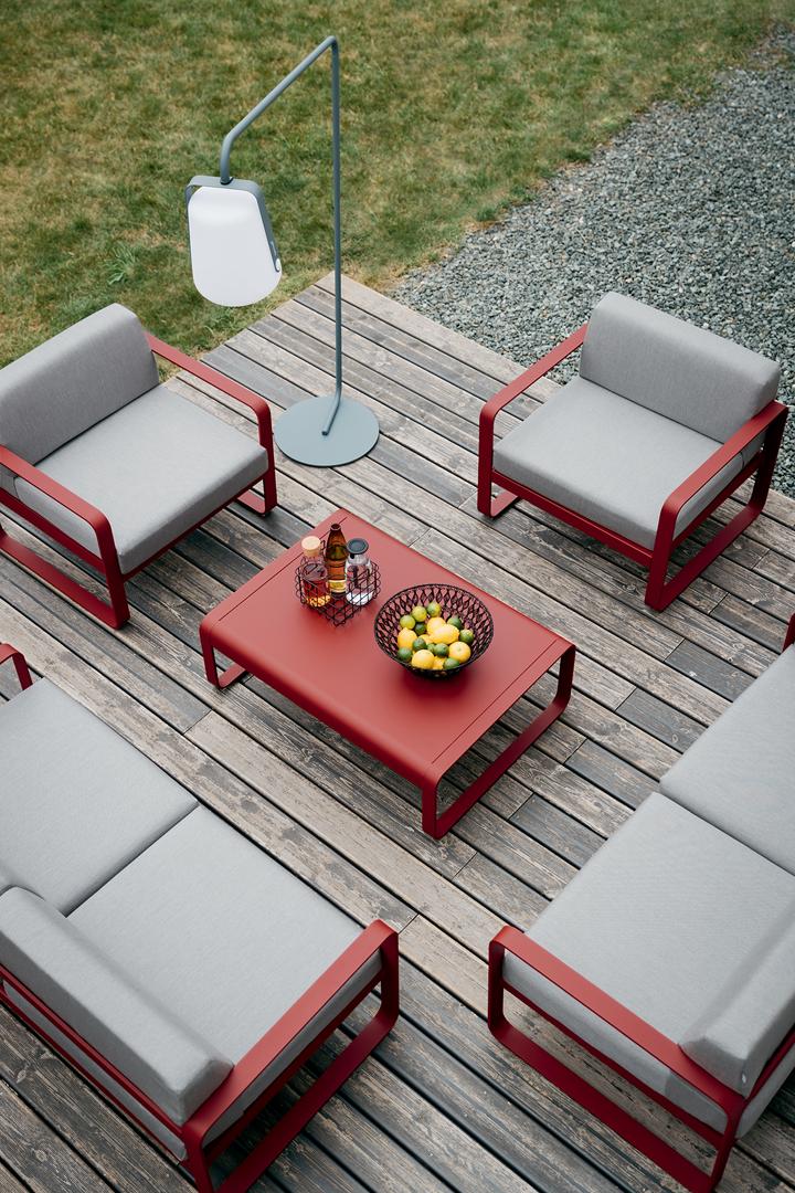 fauteuil de jardin, canape de jardin, table basse metal, salon de jardin fermob