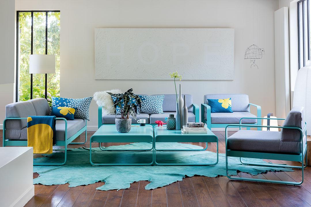fauteuil de jardin, canape de jardin, table basse metal