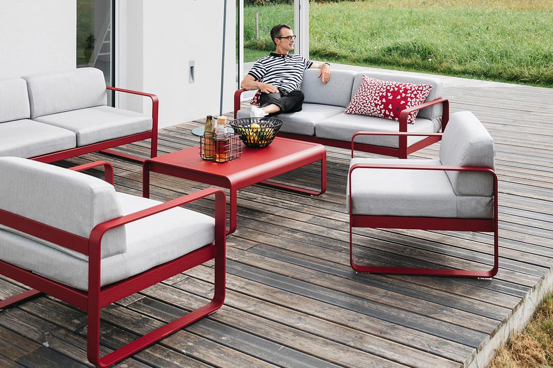 salon de jardin design, canape d exterieur, table basse metal, fauteuil de jardin, canape de jardin