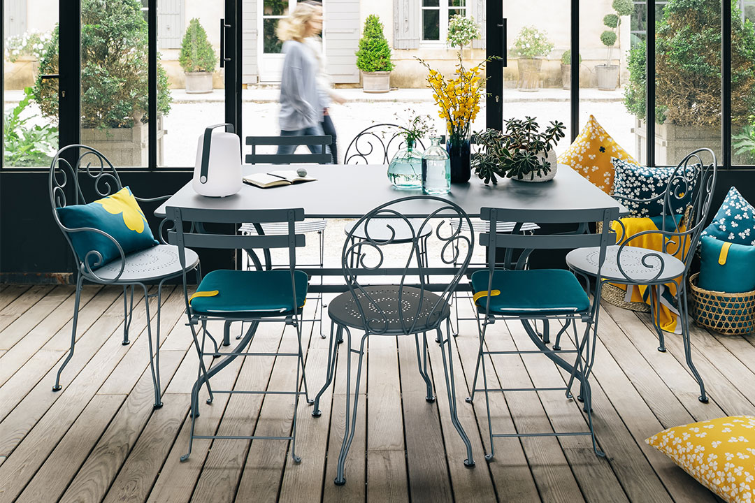 chaise metal, table metal, chaise de jardin, table 8 personnes, mobilier terrasse