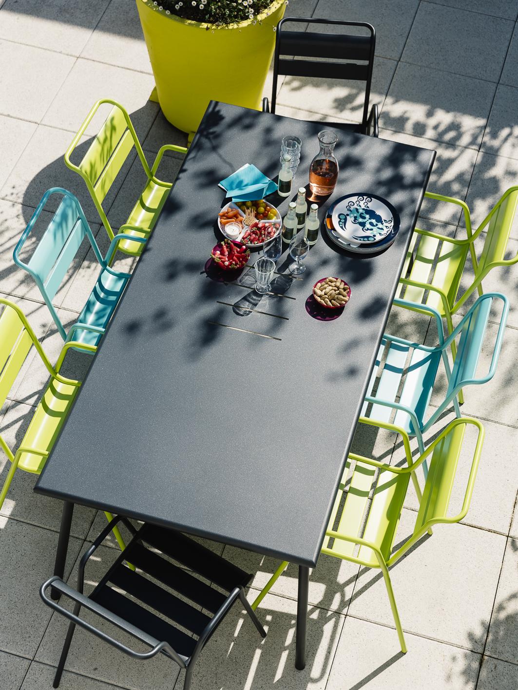 table de jardin, chaise metal, table metal, table 8 personnes, chaise de jardin