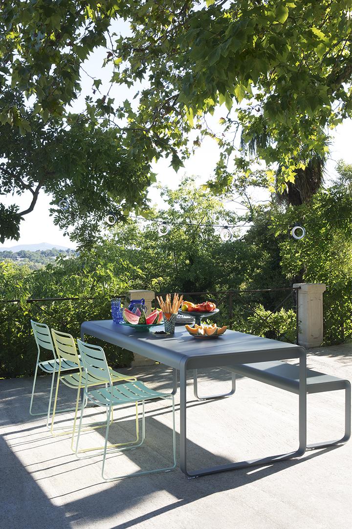 Ensemble repas, Fermob, outdoor, guirlande suspendue, extérieur, banc
