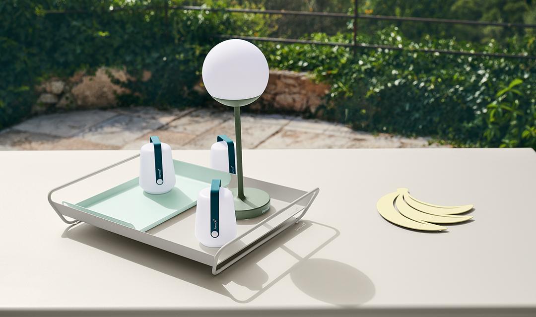 lampe d exterieur, lampe sans fil, plateau metal