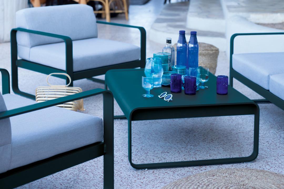 salon de jardin fermob, table basse metal, fauteuil de jardin