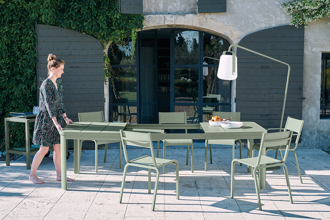 table de jardin, chaise de jardin, table metal, table de jardin a rallonge, table allonge