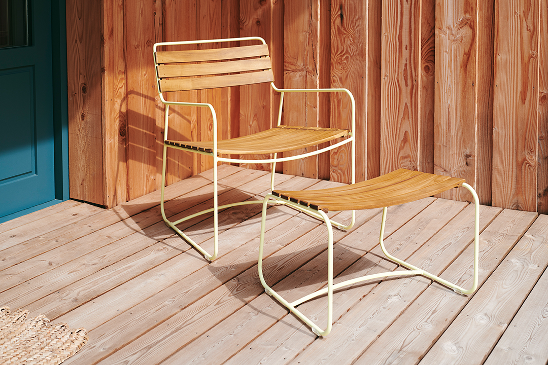 fauteuil de jardin, fauteuil métal, fauteuil teck, fauteuil et repose pied, repose pied métal, repose pied teck, fauteuil design