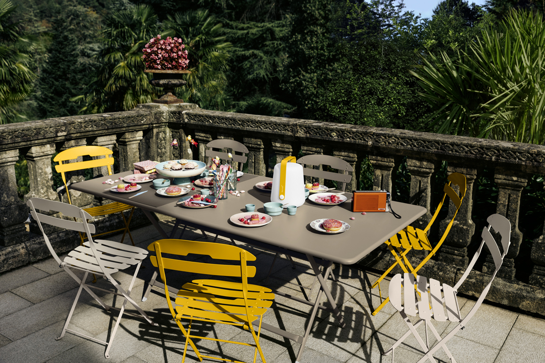table de jardin, table metal, table pliante, table 8 personnes, chaise metal
