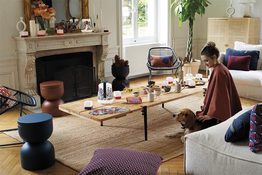 lampe balad, tabouret design, tabouret avec rangement, coussin deco, coussin fermob, photophore, deco fermob