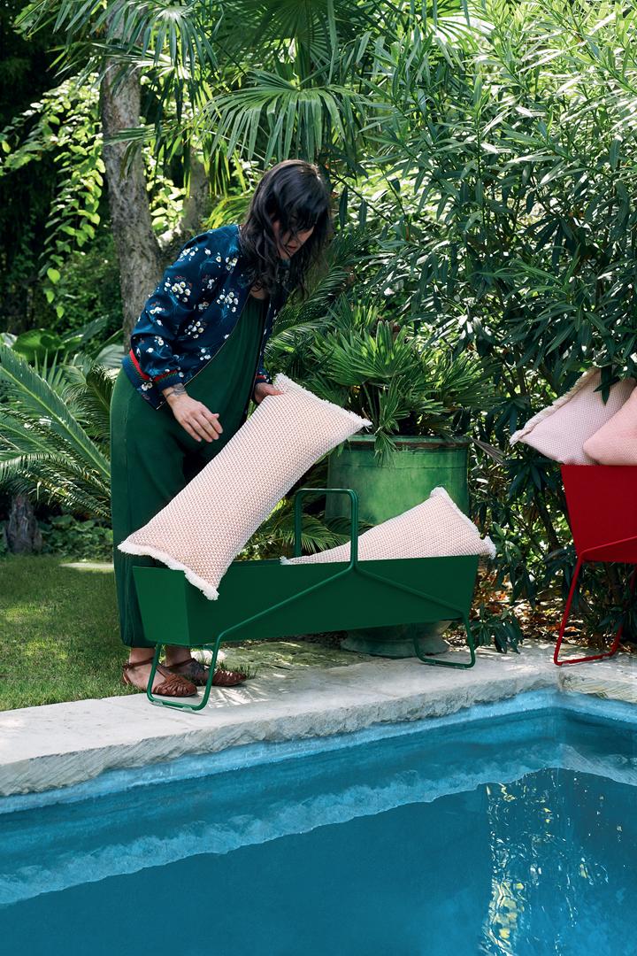 coussin de jardin, jardiniere metal, jardiniere rectangulaire, jardiniere design