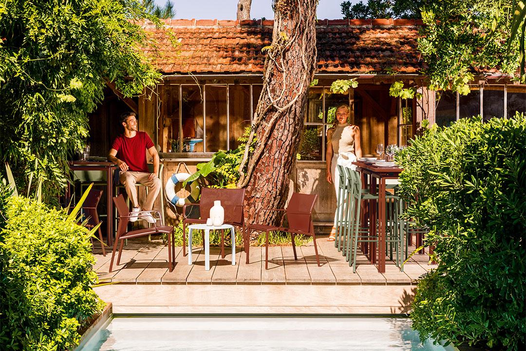 tabouret exterieur, outdoor furniture, tabouret fermob, lounge, lounge fermob, fauteuil exterieur, outdoor armchair