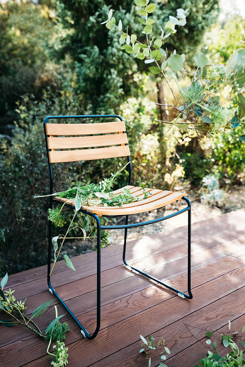 chaise metal, chaise bois et metal, chaise de jardin, chaise design