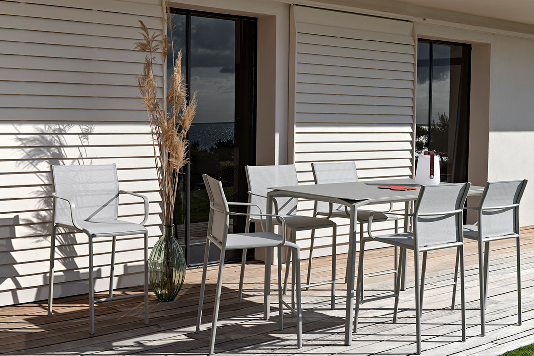 table haute, chaise haute, high table, table haute design, mobilier fermob, outdoor furniture