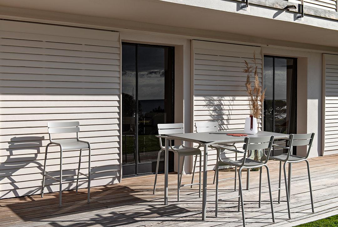 mobilier de jardin, table haute, chaise de bar, mobilier haut fermob, mobilier terrasse, outdoor furniture, high chair, high table