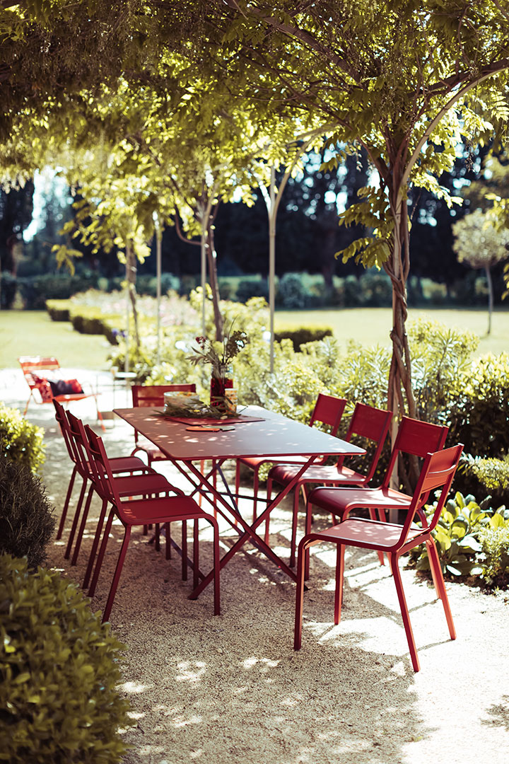table metal, table pliante, chaise de jardin, mobilier de jardin
