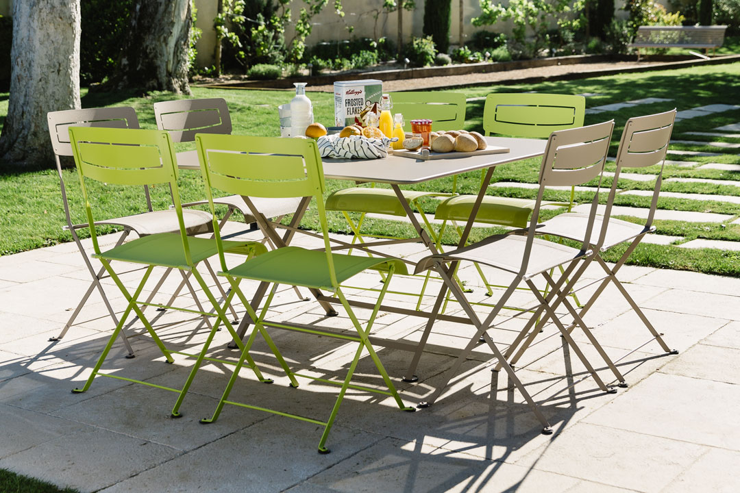 table metal, table pliante, chaise de jardin, table metal carree, mobilier de jardin
