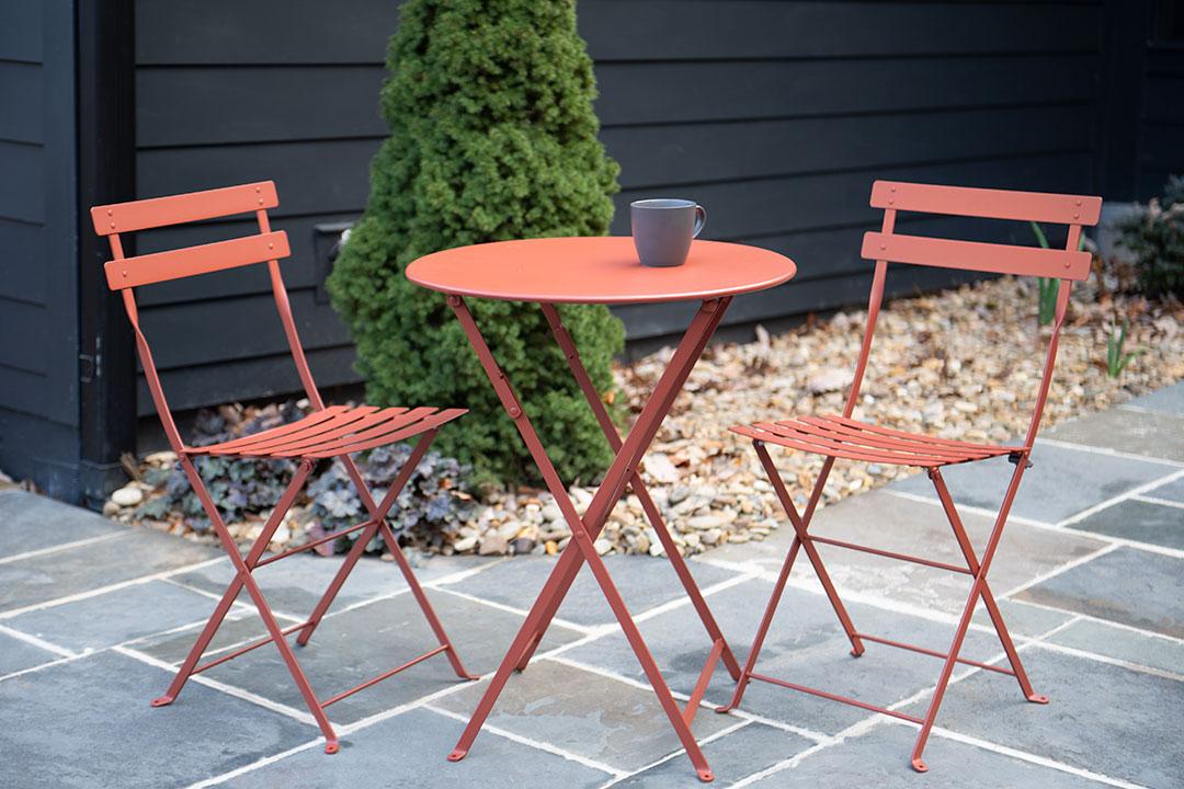 petite table pliante, table metal, table de jardin, table fermob, chaise pliante, chaise bistro, chaise metal