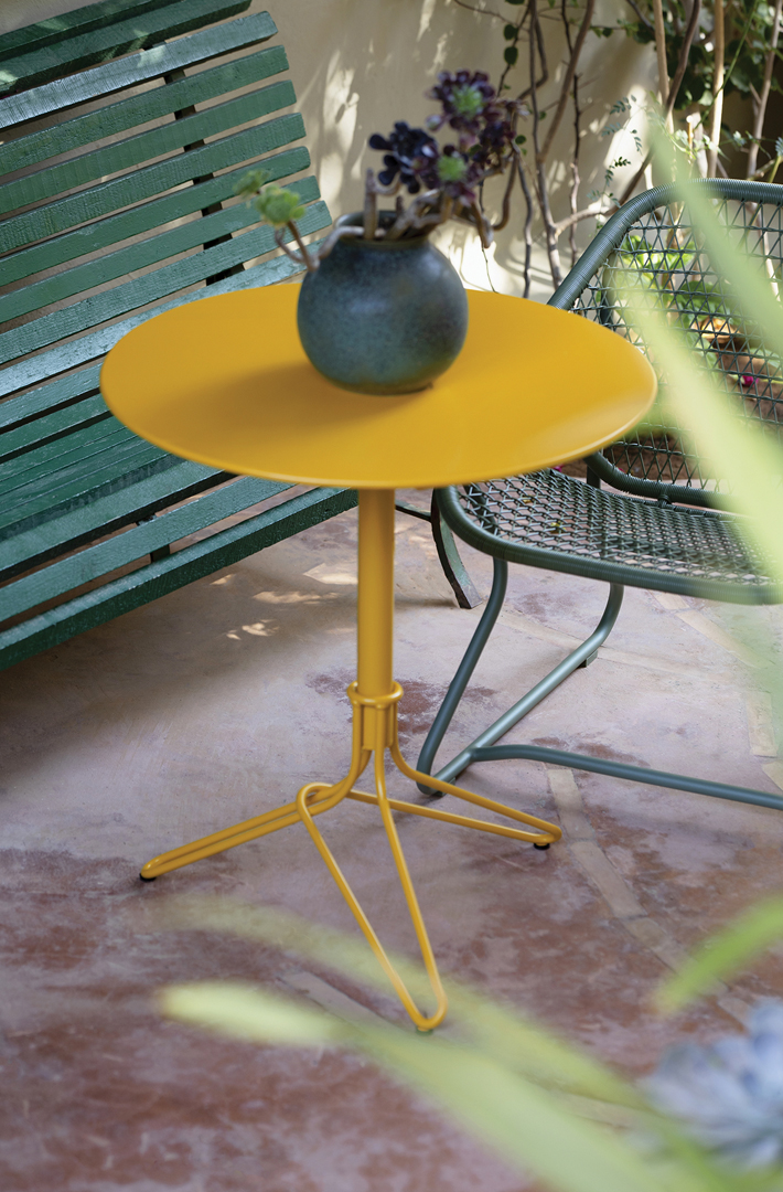 gueridon metal, petite table metal, table balcon, petite table ronde