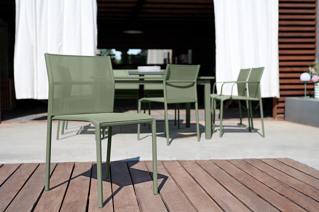 chaise de jardin, chaise en toile, mobilier de jardin fermob