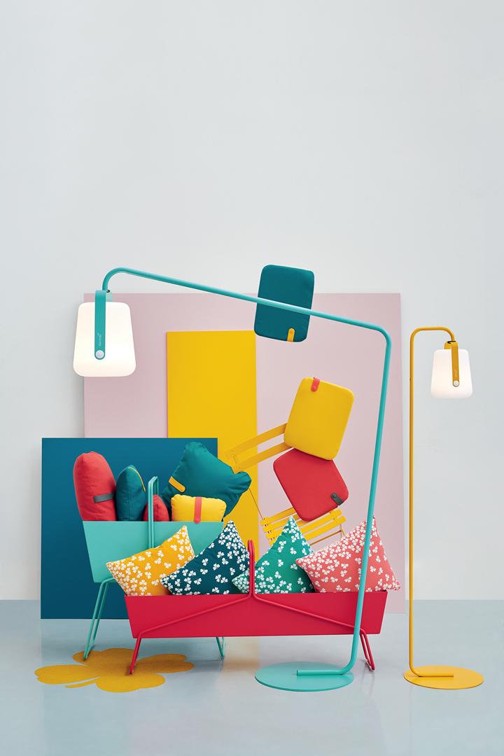 coussin fermob, lampe fermob, balad, coussin de jardin, galette de chaise