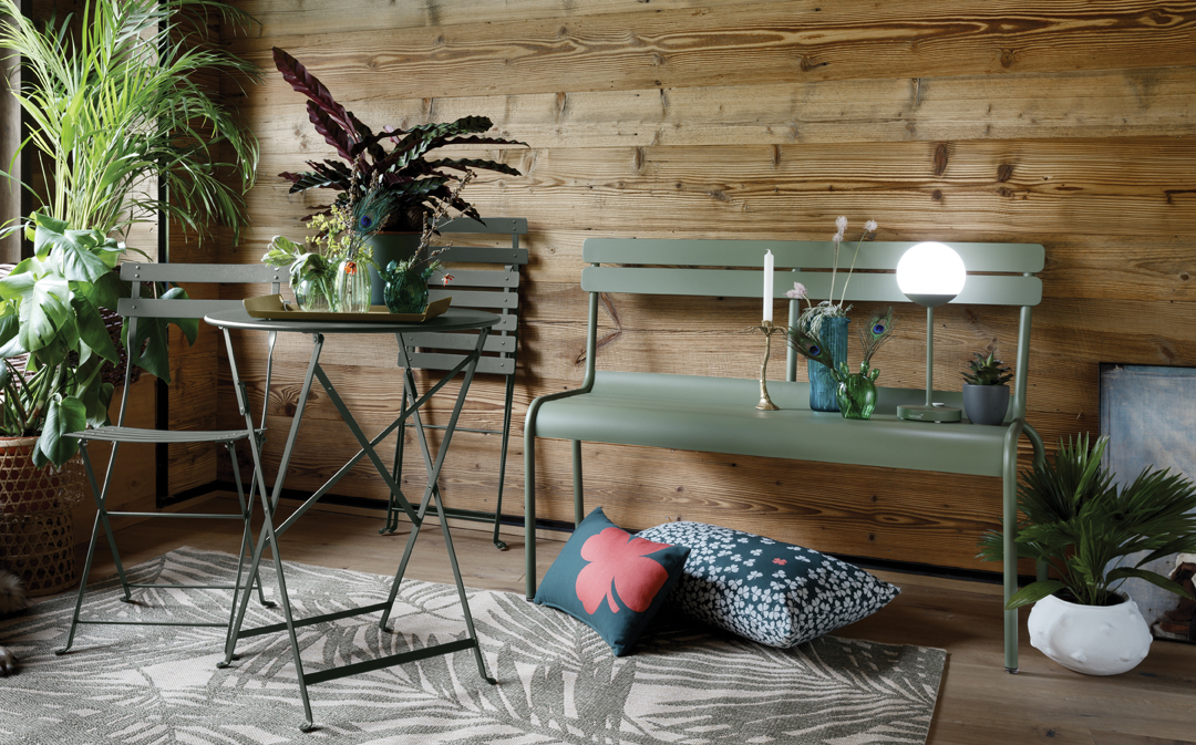 banc metal, table de jardin, banc de jardin, table metal, lampe sans fils
