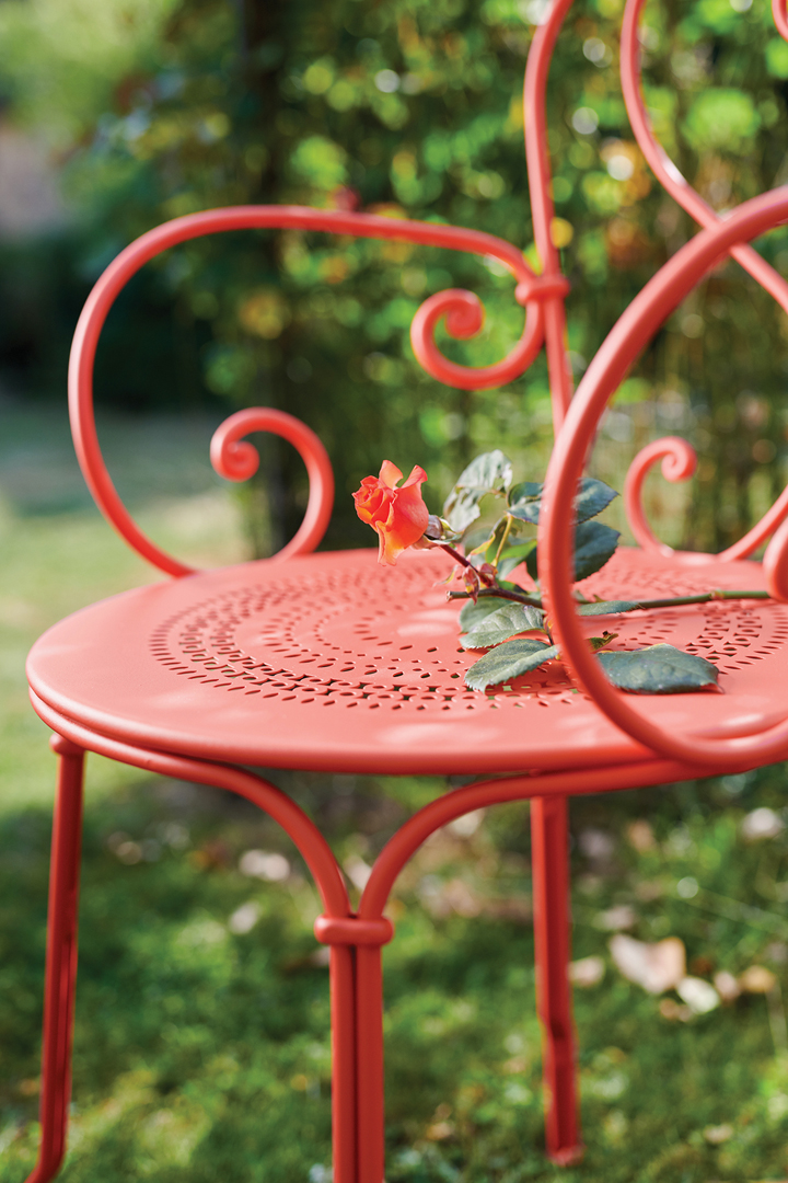 chaise metal, chaise de jardin, chaise a volutes
