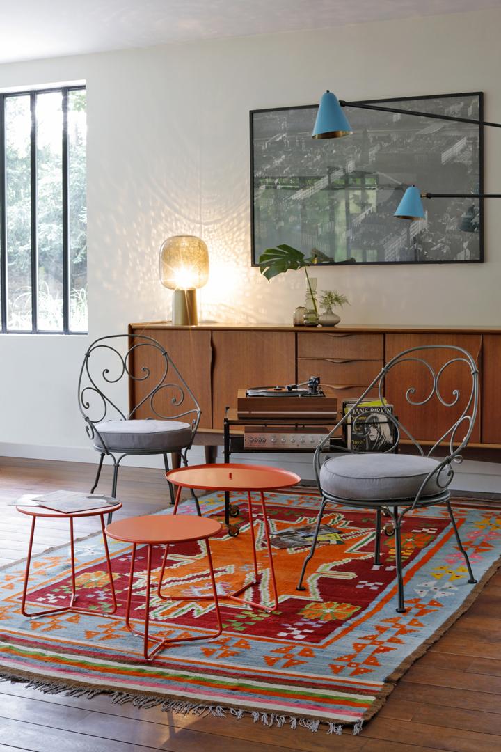 table basse metal, fauteuil de jardin, fauteuil fermob, petite table basse