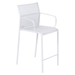 fauteuil de jardin avec accoudoirs, fauteuil avec accoudoirs en métal et toile blanc coton