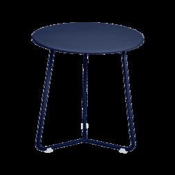 tabouret bas metal, table de chevet, table d appoint, petite table basse bleu fonce
