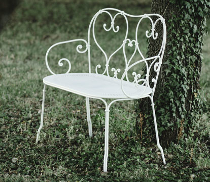 mobilier de jardin volutes, chaise metal, table de jardin, table ronde metal