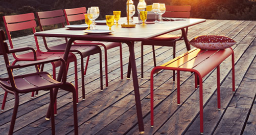 table metal, banc metal, table de jardin, table terrasse, banc terrasse