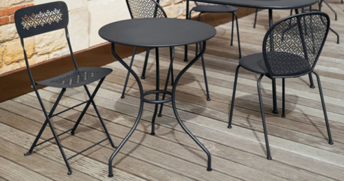 chaise metal, chaise pliante, chaise fermob, table de jardin, table fermob