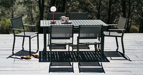 table de jardin, chaise de jardin, table metal, table 6 personnes, chaise en toile, fermob