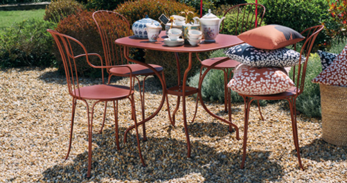 chaise metal, table de jardin, mobilier de jardin metal
