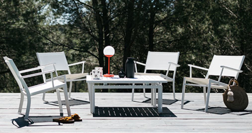fauteuil de jardin, fauteuil en toile, table basse metal, table basse de jardin