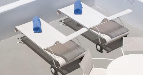 chaise longue fermob, chaise longue en toile, bain de soleil, bain de soleil en toile