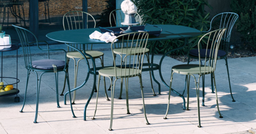 chaise metal, table de jardin, mobilier de jardin metal