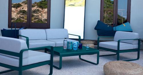 salon de jardin fermob, salon de jardin design, mobilier de jardin, fermob, canape de jardin