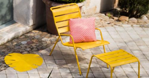 fauteuil de jardin, fauteuil metal, fauteuil terrasse, repose-pieds