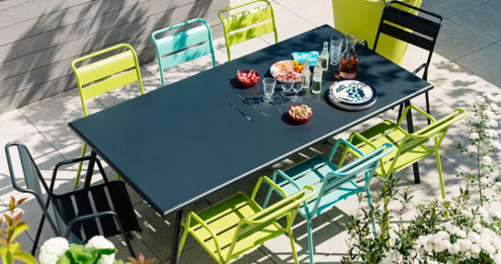 table 8 personnes, table de jardin, table metal, table terrasse