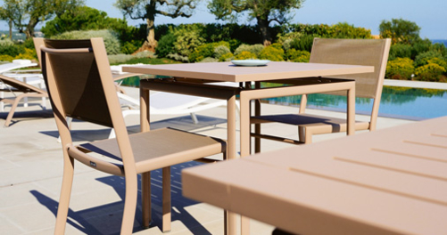 table de jardin, chaise de jardin, table metal, table 6 personnes, chaise en toile, fermob