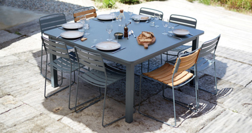table de jardin, table metal, chaise de jardin, chaise metal, chaise teck, fermob