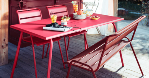 table 6 personnes, table de jardin, table metal, table terrasse