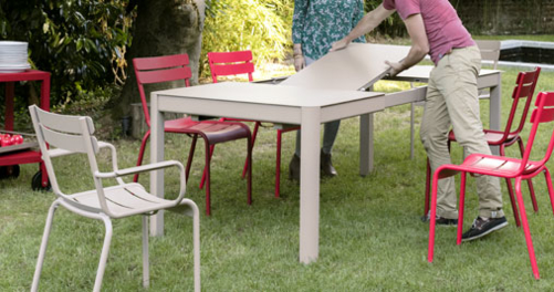 table de jardin, table metal, table 8 personnes, table terrasse, table metal a rallonge