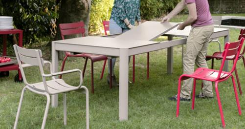 table de jardin, table metal, table 10 personnes, table terrasse, table metal a rallonge