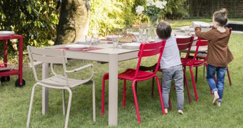 Ribambelle XL table, metal garden table for 14, garden table extensions