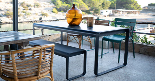 mobilier de terrasse, mobilier de jardin design, fermob, table de jardin, banc metal