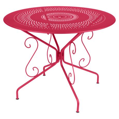 table de jardin, table metal, table ronde metal, table ronde rose