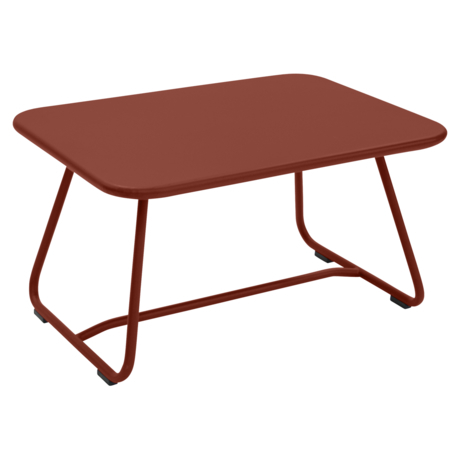 Table basse sixties ocre rouge