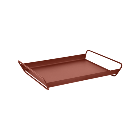 plateau de table metal, plateau de service metal, table de service rouge, plateau alto