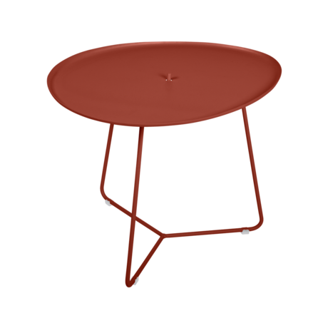 Table basse cocotte ocre rouge